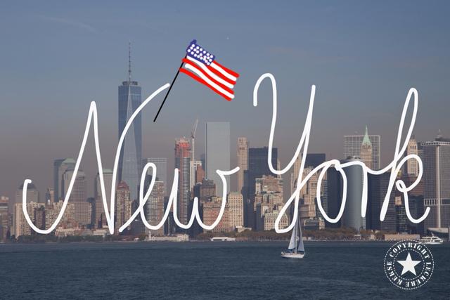 New York Skyline und amerikanische Flagge