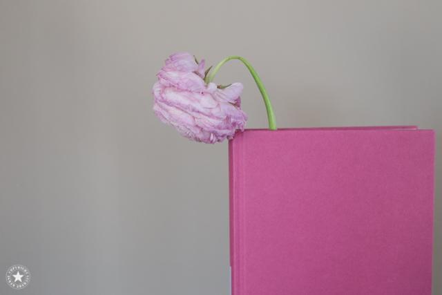 Buch-Blume-kopf-haengt