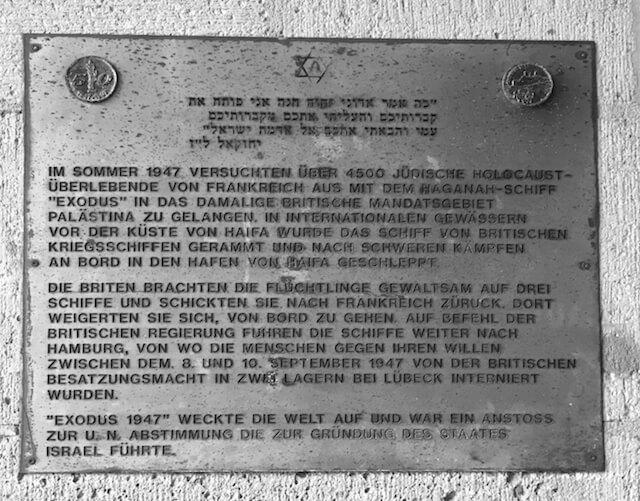 Die Gedenktafel der Exodus in Hamburg