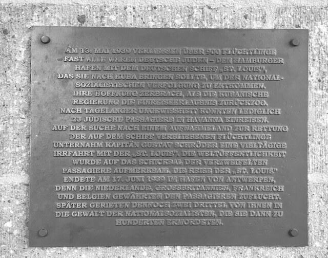 Gedenktafel St. Louis - Hamburg
