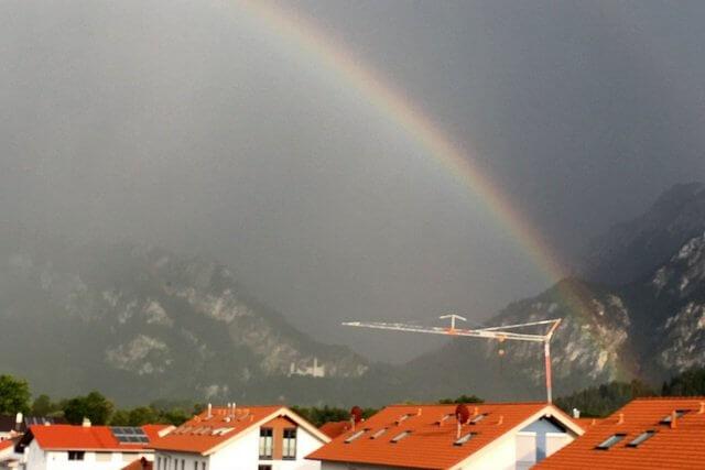 Füssen, Forggensee, Alpengewitter, Regenbogen
