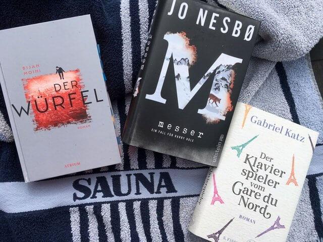 Bücher im Kurzurlaub: Jo Nesbo: Messer, Bijan Moini: Der Würfel, gabriel katz: Der Klavierspieler vom gare do Nord