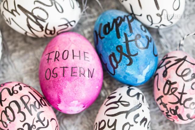Eier mit Handlettering