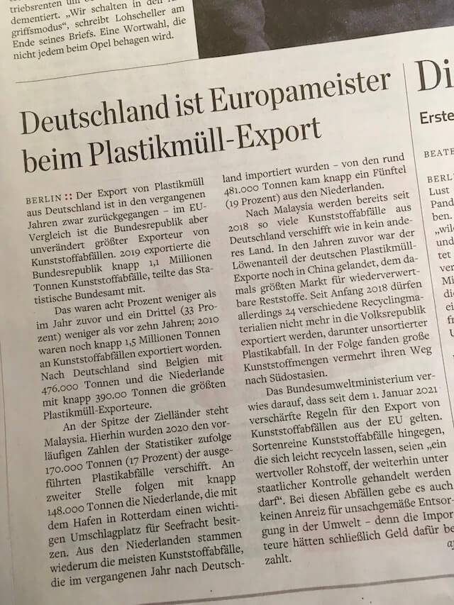 Europameister beim Plastikmüll