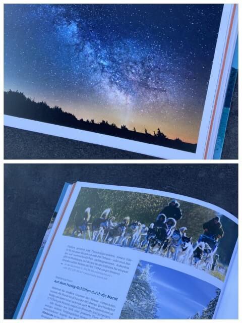 Buchausschnitt von Franziska Consolati In Deutschland um die Welt, Sternenhimmel und Huskyschlitten