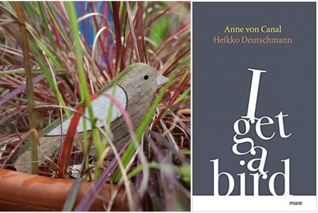 Holzvogel und Cover von I get a bird von Anne von Canal und Heikko Deutschmann